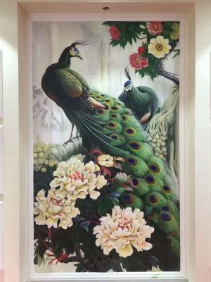 广州客户客厅背景墙绘 酒店墙绘 别墅墙绘 孔雀