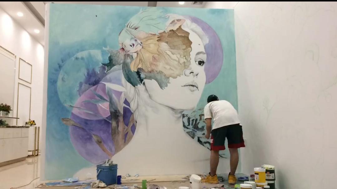 茂名市化妆品店墙体彩绘 背景墙彩绘