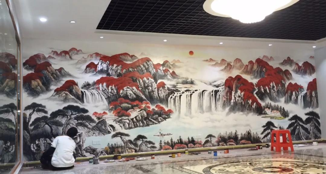 广州希尔顿酒店客厅背景墙彩绘