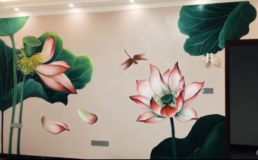 客厅背景墙绘 荷花