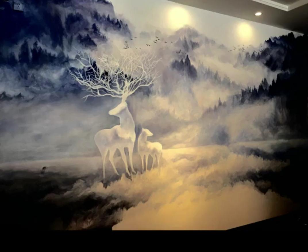 肇庆客户客厅背景墙绘 鹿