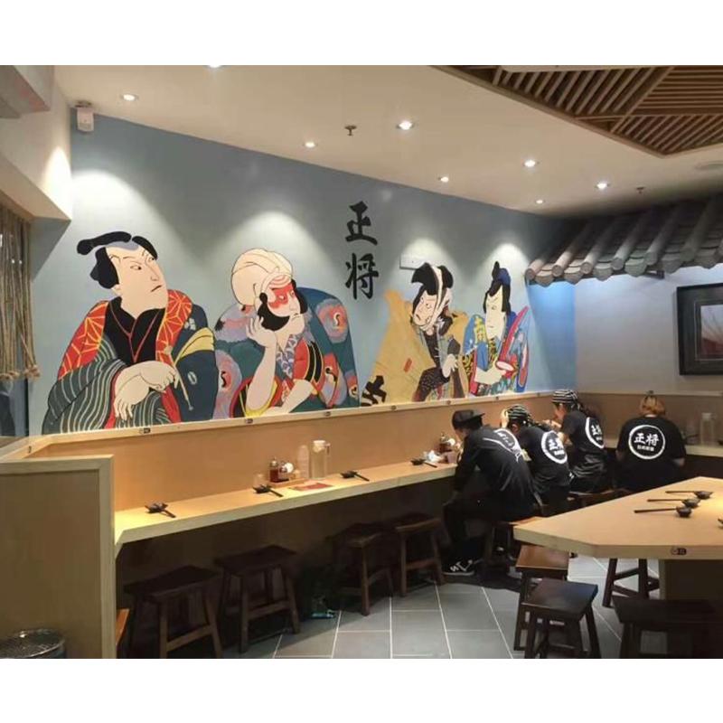 广州正将餐厅墙绘 料理店墙绘