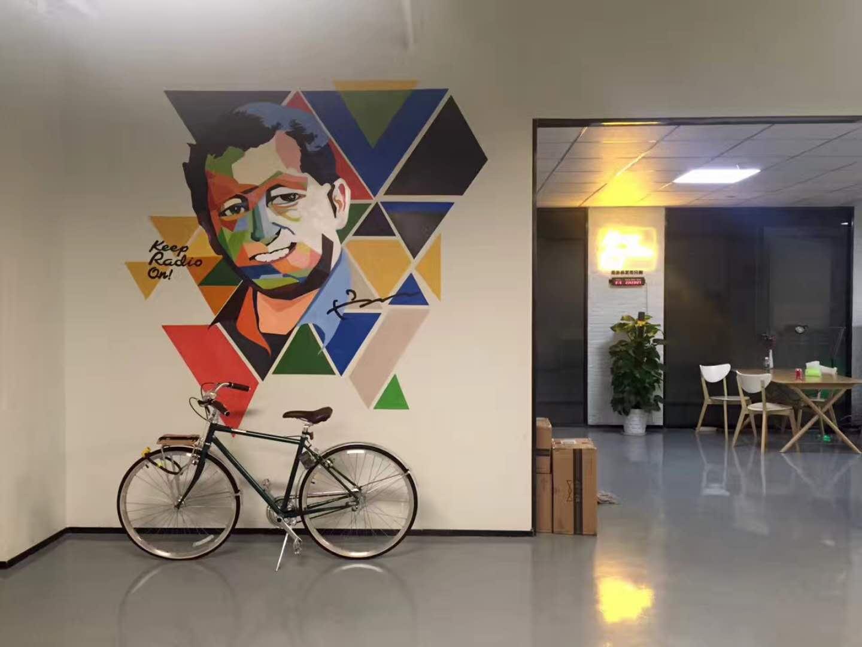 深圳黑猫警长收音机公司墙绘 办公室墙绘 办公楼墙绘