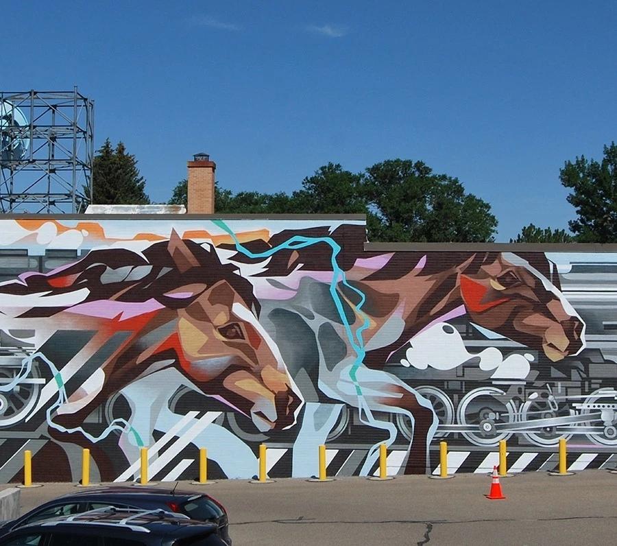 艺术创意小汇坊园区广场墙绘 游乐场墙绘 涂鸦 3D立体画