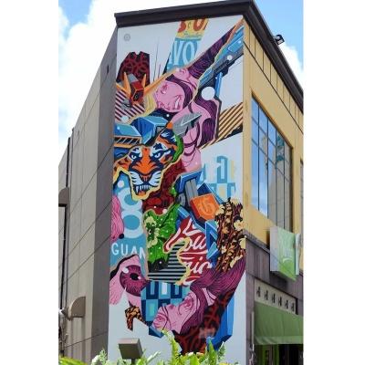 商业创意园牌坊背景墙绘 商场墙绘 涂鸦3D立体画
