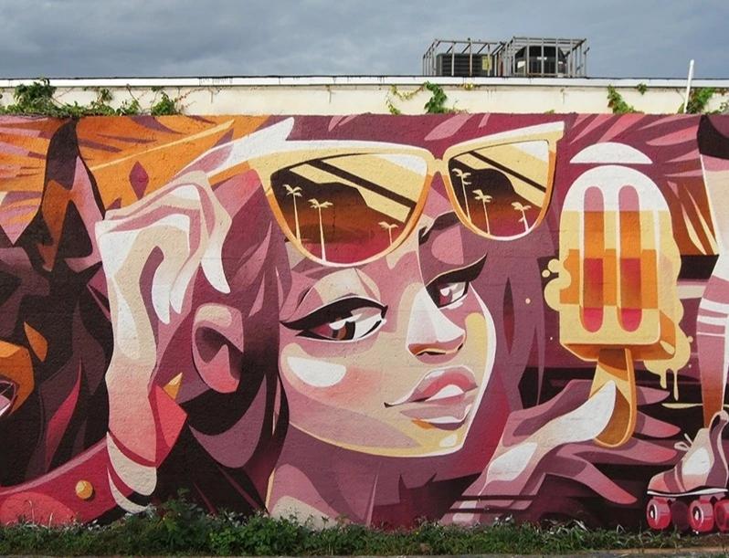 新建设的年轻娱乐广场墙绘 游乐场墙绘 涂鸦 3D立体