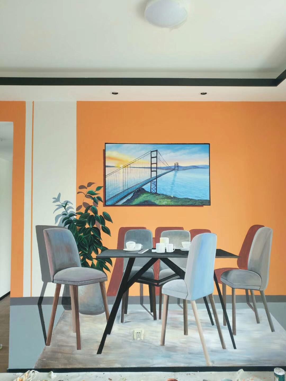 样板房墙绘 样板间彩绘 清水样板间墙绘