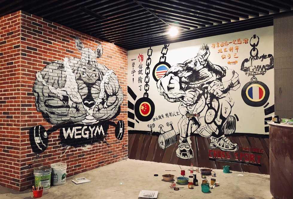 广州健身房墙绘 运动馆墙绘 3D立体绘画