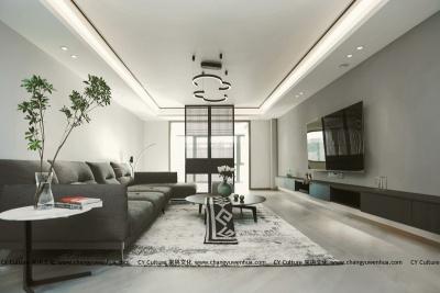 灰色硅藻泥电视背景墙效果图-现代风格效果图