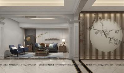 中式茶室效果图-木色调主设计-紫砂壶茶室中式效果图