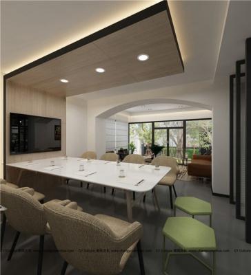 公司会议室效果图,木色清新风格效果图