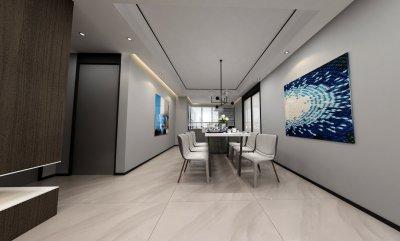 现代风格装修效果图-进门客厅餐厅相连户型-餐厅设计效果