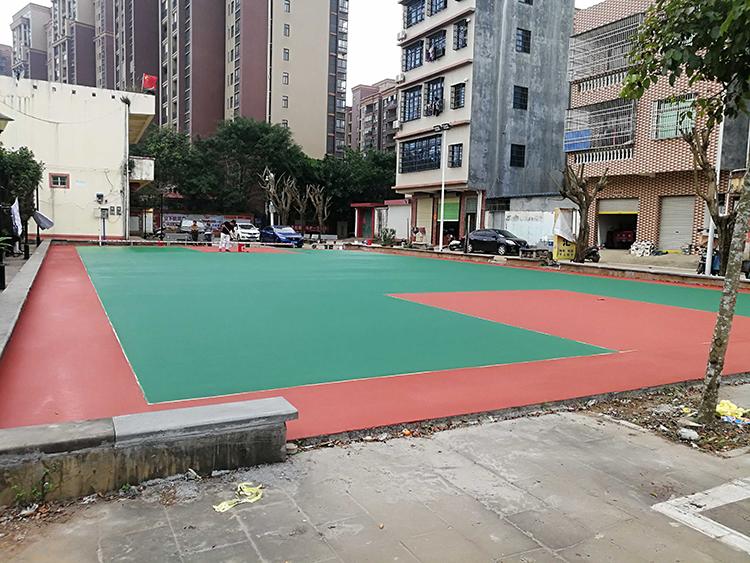 狮岭 村篮球场纯水性丙烯酸弹性球场施工