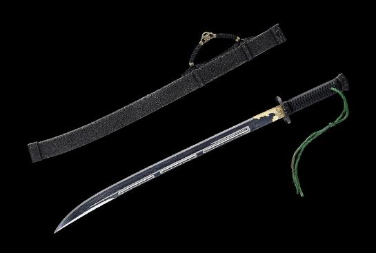 铁装雁翎刀-典藏版-草钢-毛铁-手工铁雕镶银豆(夹钢复合)