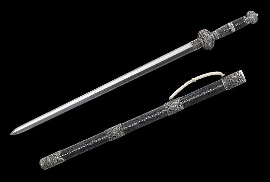 天铁系列之天佑剑-珍藏版-陨铁-毛铁-纯银手工浮雕