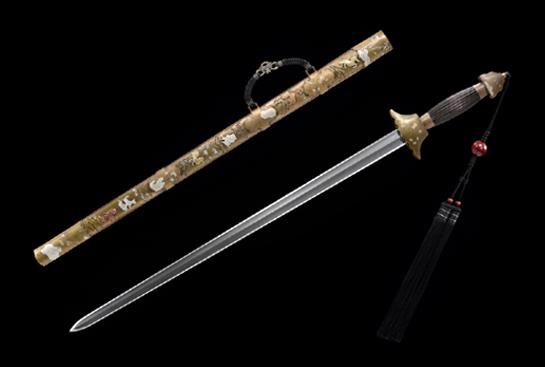 全铜装君子剑-瓦楞款-自炼钢-铜鞘手工雕刻鎏银