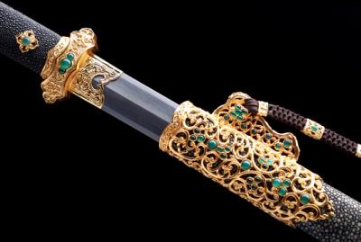 紫英唐剑-典藏版-自炼钢-黄铜镂空雕刻镀金-镶嵌196颗天然玛瑙