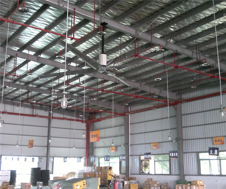 仓库物流中心采用土禾冷风柜加工业大风扇通风降温应用案例